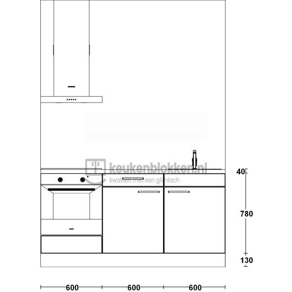 Keukenblok met apparatuur, inductiekookplaat, spoelbak rechts 1.80 m breed - Alpine wit hoogglans