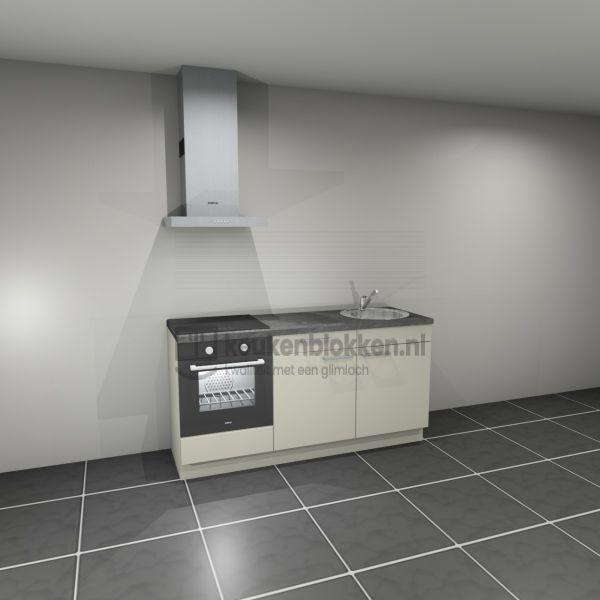 Keukenblok met apparatuur, inductiekookplaat, spoelbak rechts 1.80 m breed - Magnolia