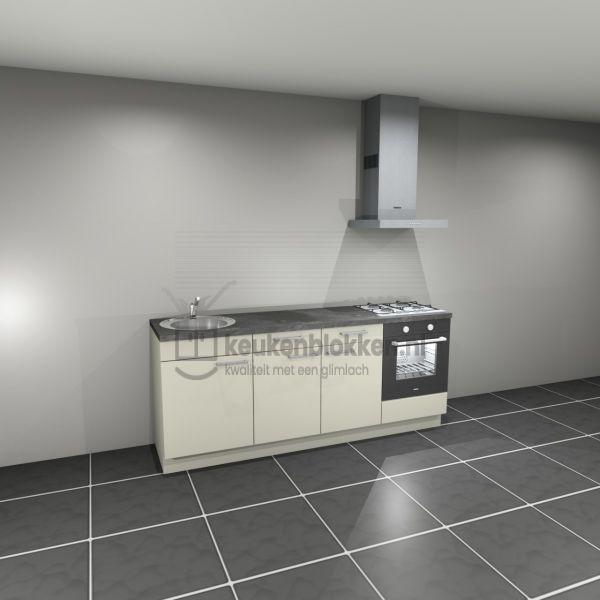 Keukenblok met apparatuur, gaskookplaat, spoelbak links 2.20 m breed - Magnolia