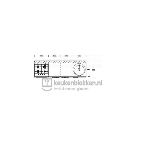 Keukenblok met apparatuur, gaskookplaat, spoelbak rechts 2.20 m breed - Onyx grijs
