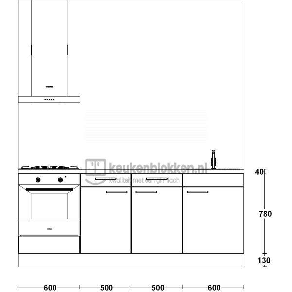Keukenblok met apparatuur, gaskookplaat, spoelbak rechts 2.20 m breed - Eiken zand