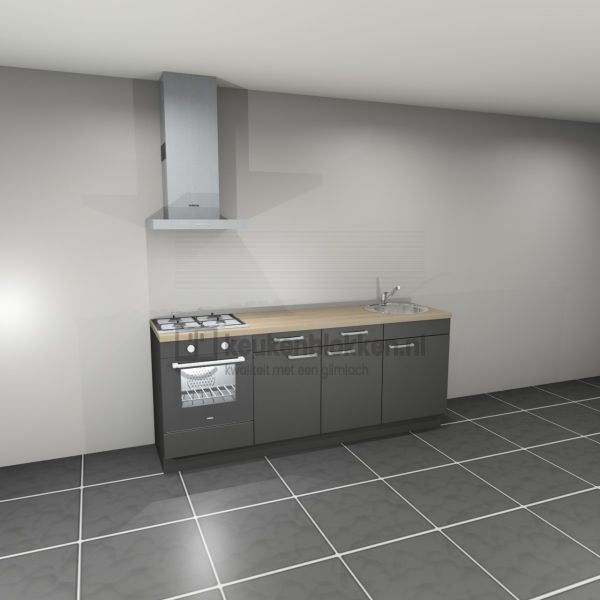 Keukenblok met apparatuur, gaskookplaat, spoelbak rechts 2.20 m breed - Carbon zwart