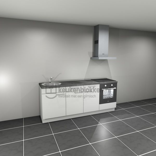 Keukenblok met apparatuur, inductiekookplaat, spoelbak links 2.20 m breed - Alpine wit