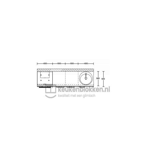 Keukenblok met apparatuur, inductiekookplaat, spoelbak rechts 2.20 m breed - Magnolia