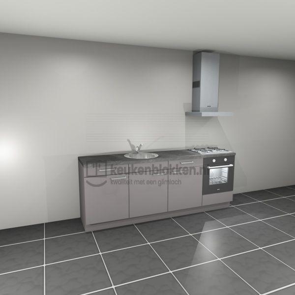 Keukenblok met apparatuur, gaskookplaat, spoelbak middenlinks 2.40 m breed - Onyx grijs