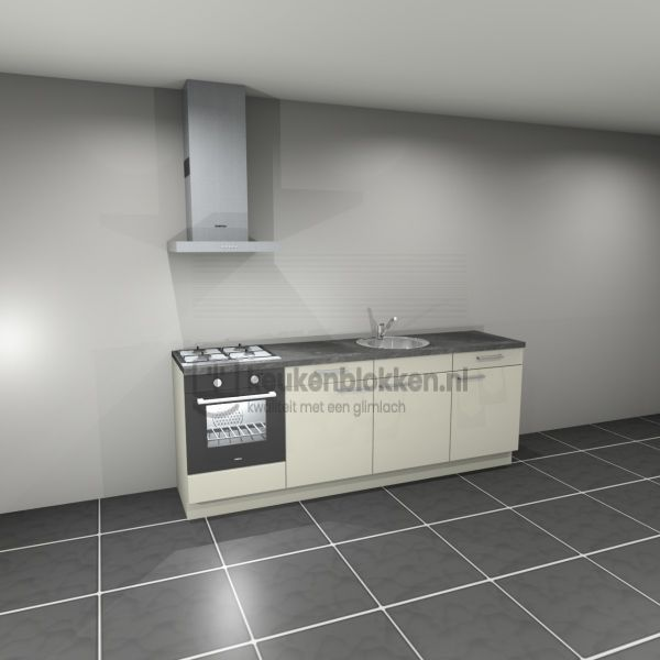 Keukenblok met apparatuur, gaskookplaat, spoelbak middenrechts 2.40 m breed - Magnolia
