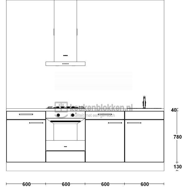 Keukenblok met apparatuur, gaskookplaat, spoelbak rechts 2.40 m breed - Carbon zwart