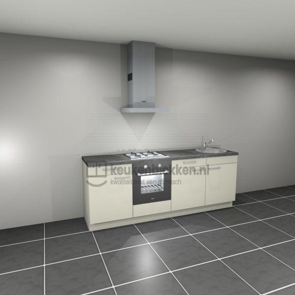 Keukenblok met apparatuur, gaskookplaat, spoelbak rechts 2.40 m breed - Magnolia