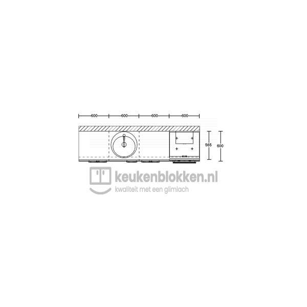 Keukenblok met apparatuur, inductiekookplaat, spoelbak middenlinks 2.40 m breed - Onyx grijs