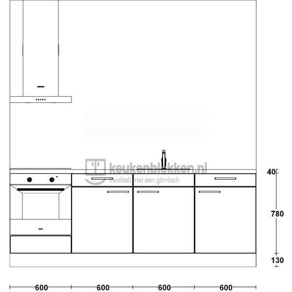 Keukenblok met apparatuur, inductiekookplaat, spoelbak middenrechts 2.40 m breed - Onyx grijs