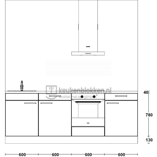 Keukenblok met apparatuur, inductiekookplaat, spoelbak links 2.40 m breed - Eiken zand