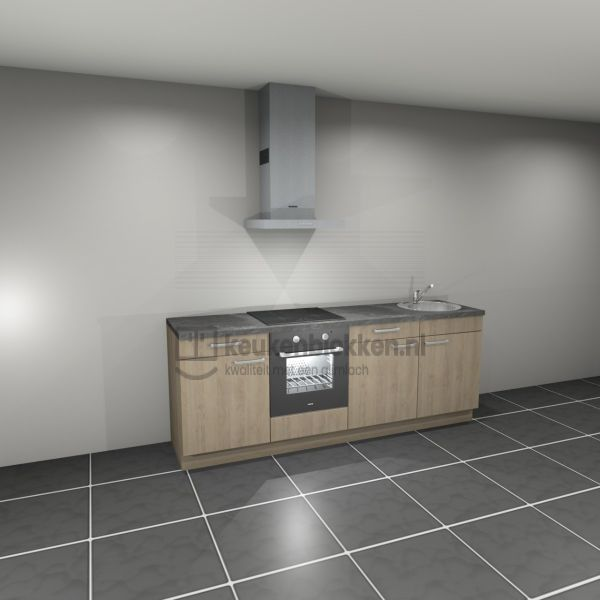 Keukenblok met apparatuur, inductiekookplaat, spoelbak rechts 2.40 m breed. - Eiken zand