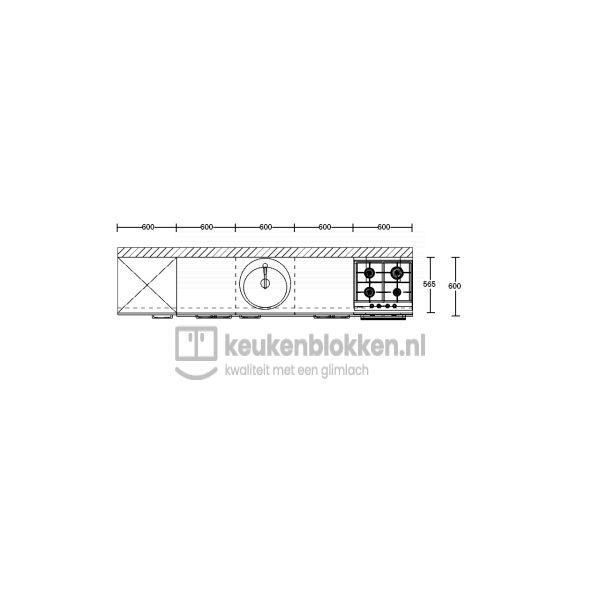 Keukenblok met apparatuur, koelkast, gaskookplaat, spoelbak midden 3.00 m breed - Alpine wit hoogglans