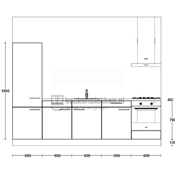 Keukenblok met apparatuur, koelkast, gaskookplaat, spoelbak midden 3.00 m breed - Magnolia