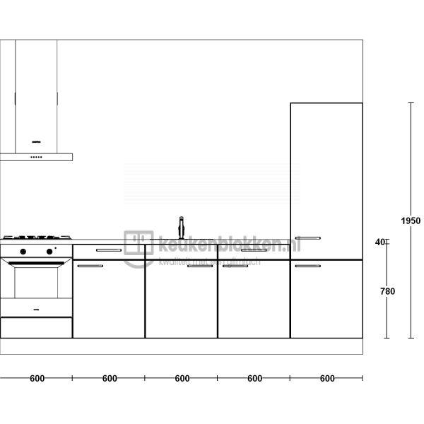 Keukenblok met apparatuur,  gaskookplaat, spoelbak midden, koelkast  3.00m breed - Magnolia