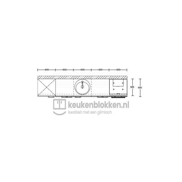 Keukenblok met apparatuur, koelkast, inductiekookplaat, spoelbak midden 3.00 m breed - Alpine wit hoogglans