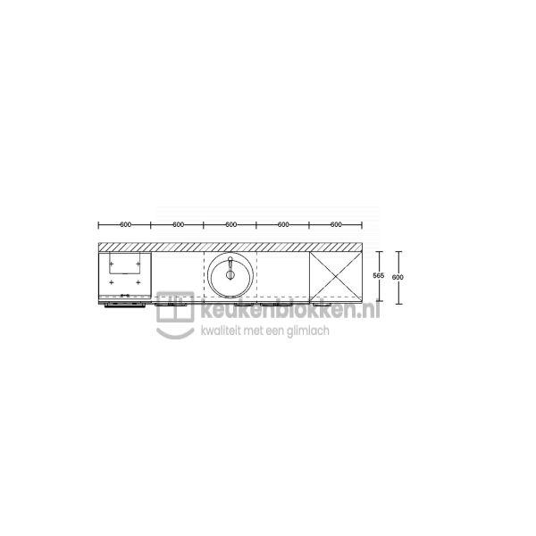 Keukenblok met apparatuur, inductiekookplaat, spoelbak midden, koelkast  3.00m breed - Eiken zand