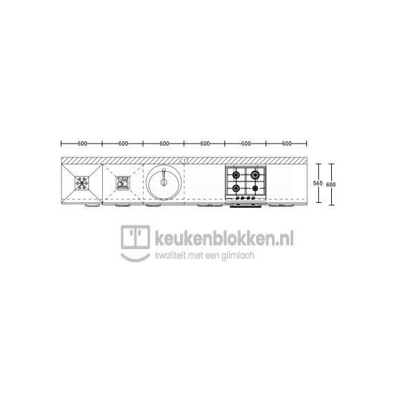 Keukenblok met apparatuur, koelvries, gaskookplaat, vaatwasser, spoelbak midden 3.60 m breed - Carbon zwart