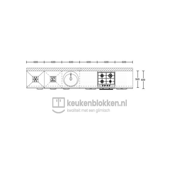 Keukenblok met apparatuur, koelvries, gaskookplaat, vaatwasser, spoelbak midden 3.60 m breed - Alpine wit hoogglans