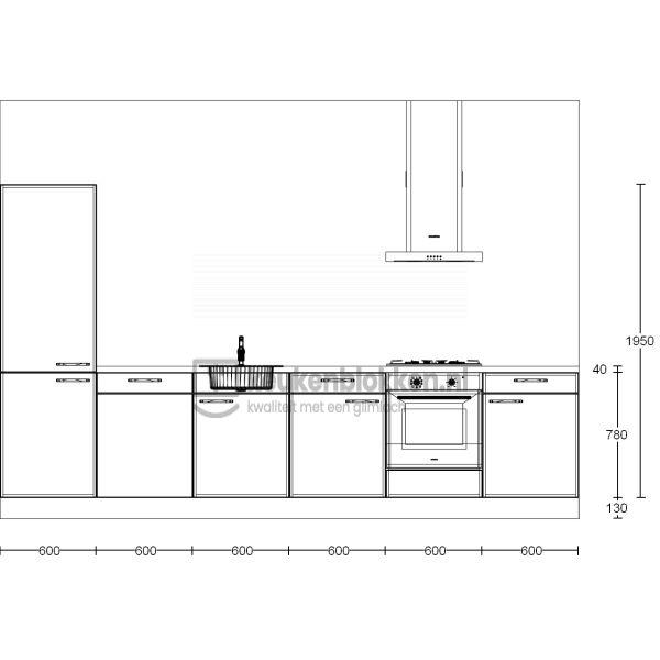 Keukenblok met apparatuur, koelvries, gaskookplaat, vaatwasser, spoelbak midden 3.60 m breed - Magnolia