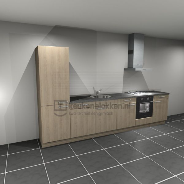 Keukenblok met apparatuur, koelvries, gaskookplaat, vaatwasser, spoelbak midden 3.60 m breed - Eiken zand