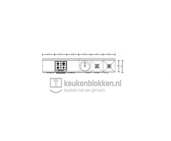 Keukenblok met apparatuur,  gaskookplaat, spoelbak midden, vaatwasser, koelvries 3.60m breed - Eiken zand