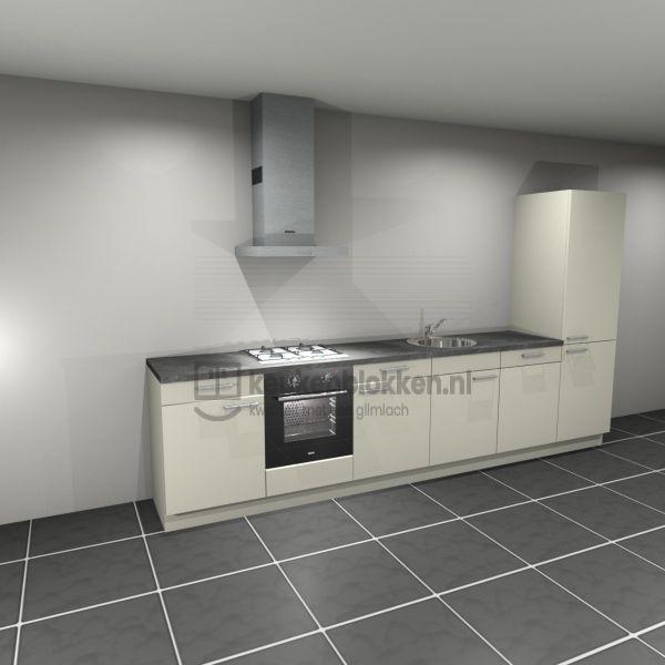 Keukenblok met apparatuur,  gaskookplaat, spoelbak midden, vaatwasser, koelvries 3.60m breed - Magnolia