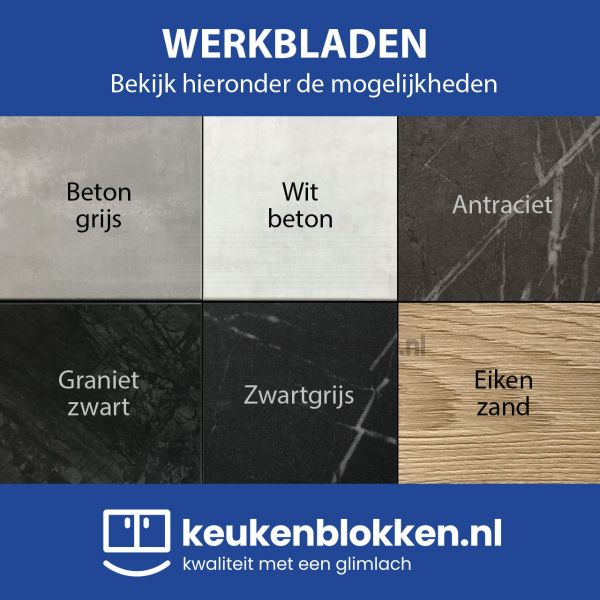 Keukenblok met spoelbak 1.80 m breed - Carbon zwart