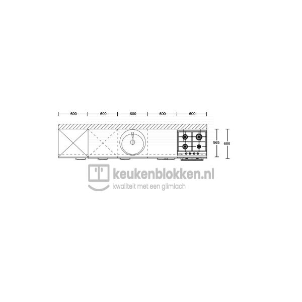 Keukenblok met apparatuur, koelkast, gaskookplaat, vaatwasser, spoelbak midden 3.00 m breed - Onyx grijs