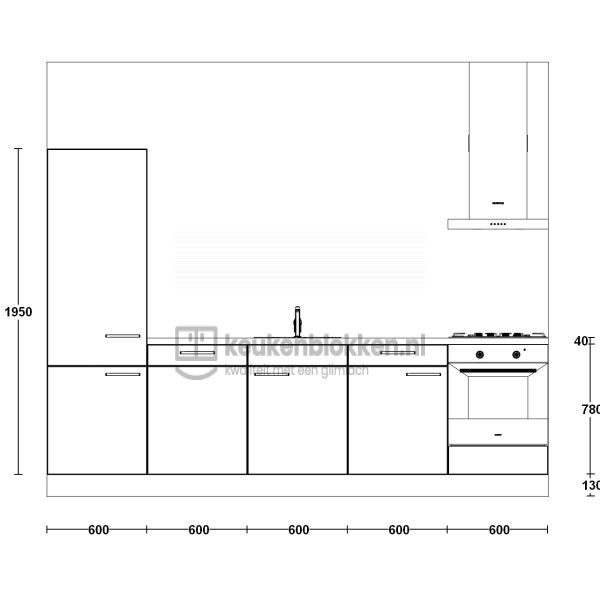 Keukenblok met apparatuur, koelkast, gaskookplaat, vaatwasser, spoelbak midden 3.00 m breed - Alpine wit.