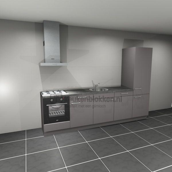 Keukenblok met apparatuur,  gaskookplaat, spoelbak midden, vaatwasser, koelkast  3.00m breed - Onyx grijs