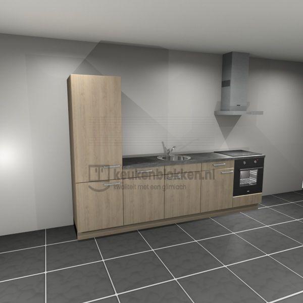 Keukenblok met apparatuur, koelkast, inductiekookplaat, vaatwasser, spoelbak midden 3.00 m breed - Eiken zand