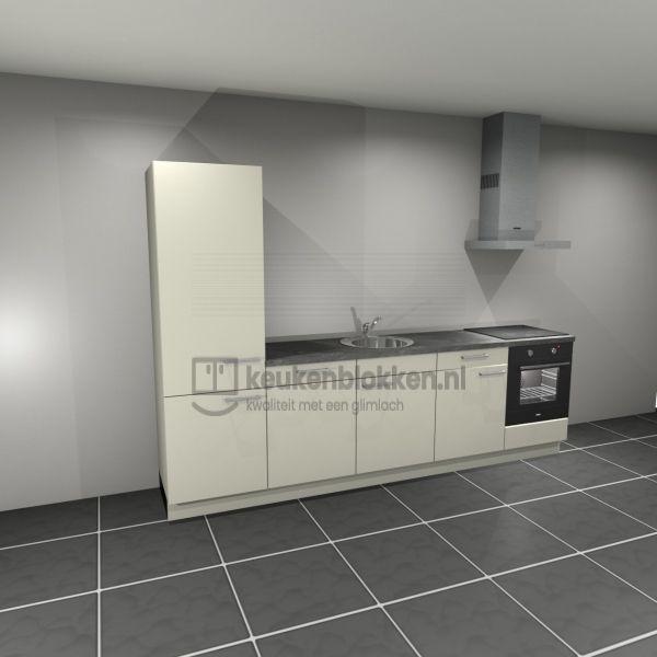 Keukenblok met apparatuur, koelkast, inductiekookplaat, vaatwasser, spoelbak midden 3.00 m breed - Magnolia