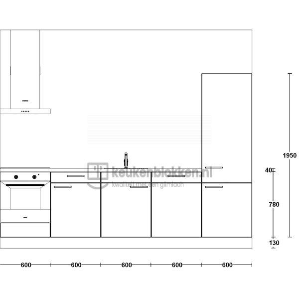 Keukenblok met apparatuur, inductiekookplaat, spoelbak midden, vaatwasser, koelkast  3.00m breed - Magnolia