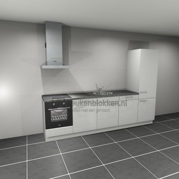 Keukenblok met apparatuur, inductiekookplaat, spoelbak midden, vaatwasser, koelkast  3.00m breed - Alpine wit hoogglans