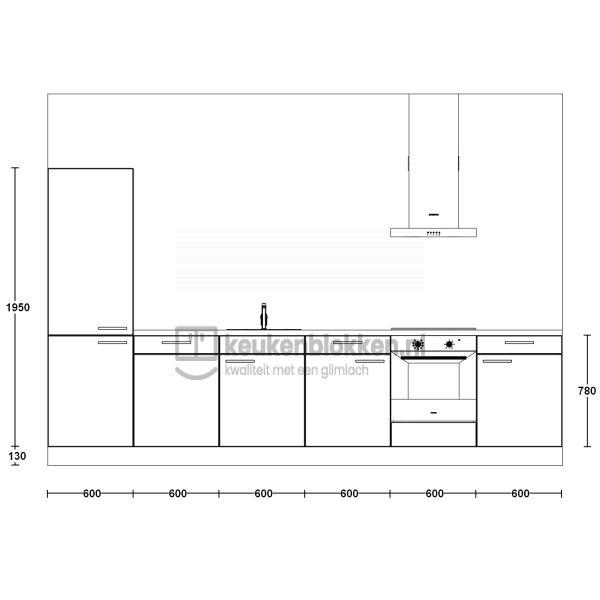 Keukenblok met apparatuur, koelvries, inductiekookplaat, vaatwasser, spoelbak midden 3.60 m breed - Carbon zwart