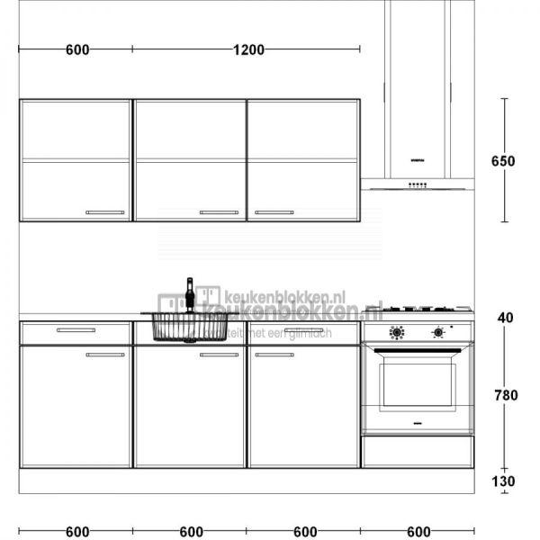 Keukenblok met apparatuur, gaskookplaat, spoelbak middenlinks 2.40 m breed - Carbon zwart met bovenkasten