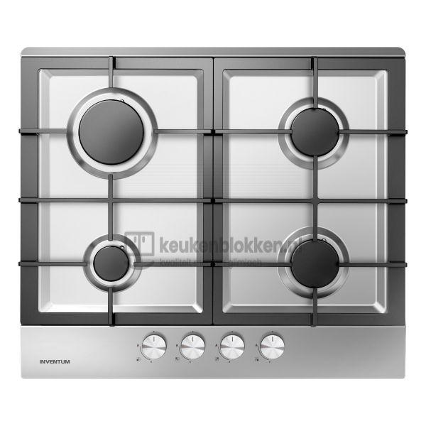 Keukenblok met apparatuur,  gaskookplaat, spoelbak midden, vaatwasser, koelvries 3.60m breed - Carbon zwart