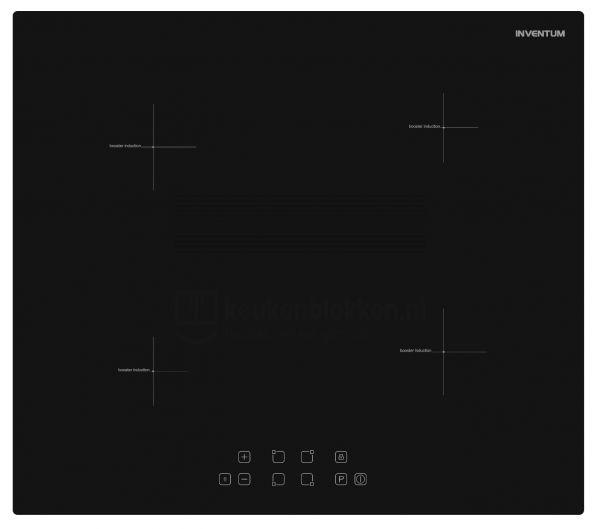 Keukenblok met apparatuur, inductiekookplaat, spoelbak middenrechts 2.40 m breed - Eiken zand