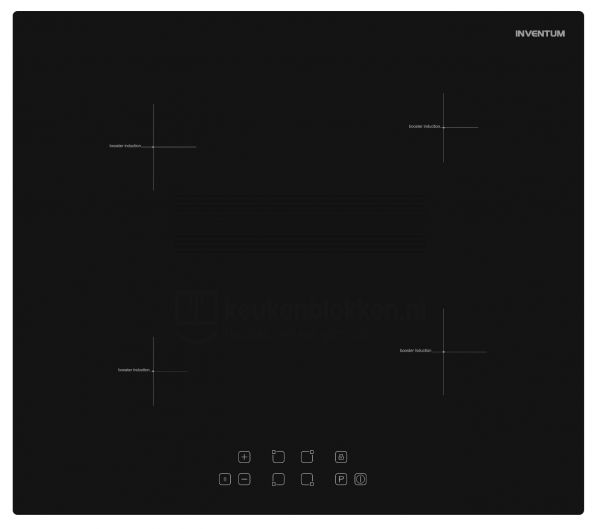 Keukenblok met apparatuur, inductiekookplaat, spoelbak midden, vaatwasser, koelkast  3.00m breed - Carbon zwart