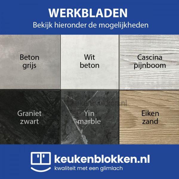 Keukenblok zonder spoelbak 1.80 m breed - Onyx grijs